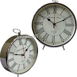 Collectible Vintage style table desk Clock Table Clock Chrome Finish Items