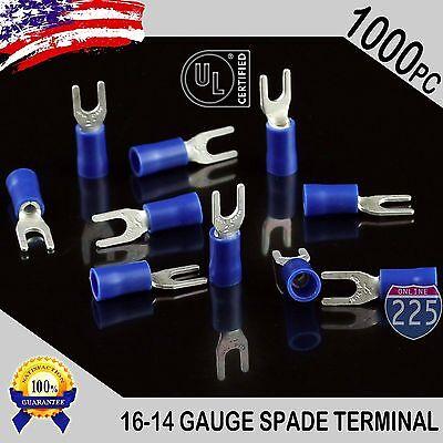 1000 Pack 16-14 Gauge Vinyl Spade Fork Crimp Terminals 6 Stud Tin Copper Core