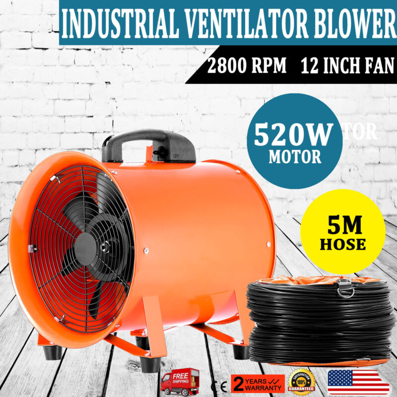 "12"" Extractor Fan Blower Ventilator+5M Duct Hose Axial Motor Utility Air Mover"