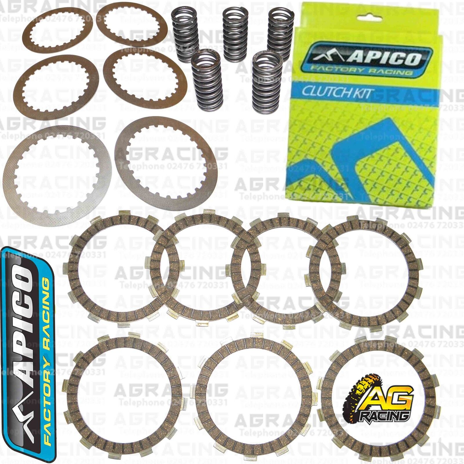 Apico Clutch Kit Steel Friction Plates /& Springs For KTM EXC 200 2007 Enduro