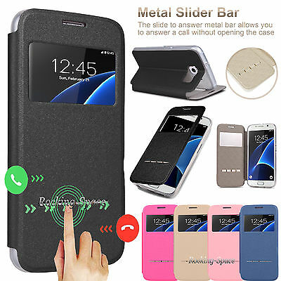 For Samsung Galaxy S7 Edge   S7 Flip Leather Window View Stand Smart Case Cover