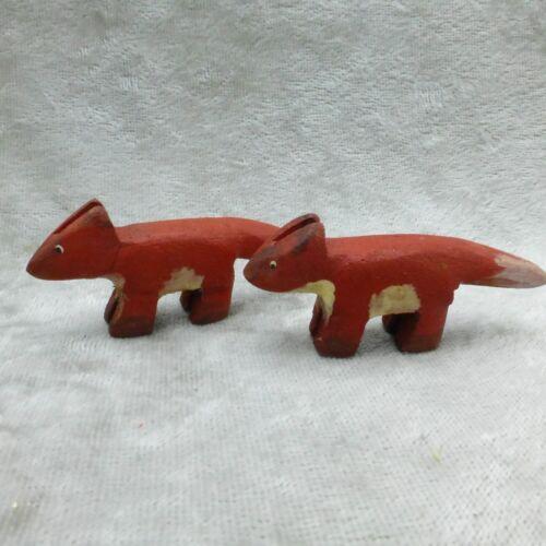 Vintage Nancy Thomas Noahs Ark Carved Wood Animal Figures Fox Miniature Folk Art