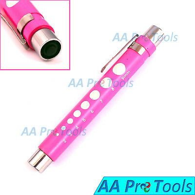 Pen Light With Pupil Gauge For Nursing Medical Pink With Batteries Reusable