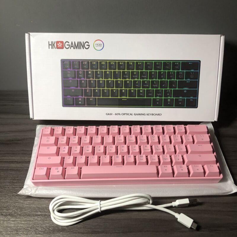 GK61 Mechanical Gaming Keyboard - 61 Keys Gateron Optical Brown Prism Pink