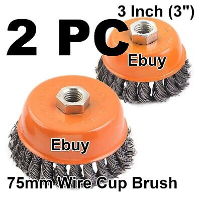 2 Pcs 3 Twist Cup Wire Wheel Brush 58 Arbor Wire Fits Most Angle Grinders