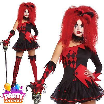 Womens Clown Outfit (Womens Jesterina Clown Hallowen Costume Fancy Dress Outfit)
