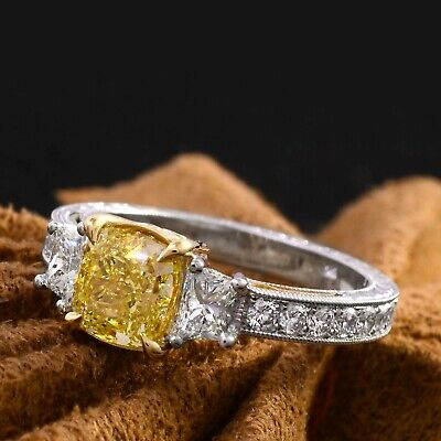 2.25 Ct Cushion Cut Canary Antique Hand Carved Diamond Engagement Ring VS1 GIA