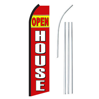 Open House Rd Advertising Feather Flutter Swooper 2.5 Banner Flag And Pole Only