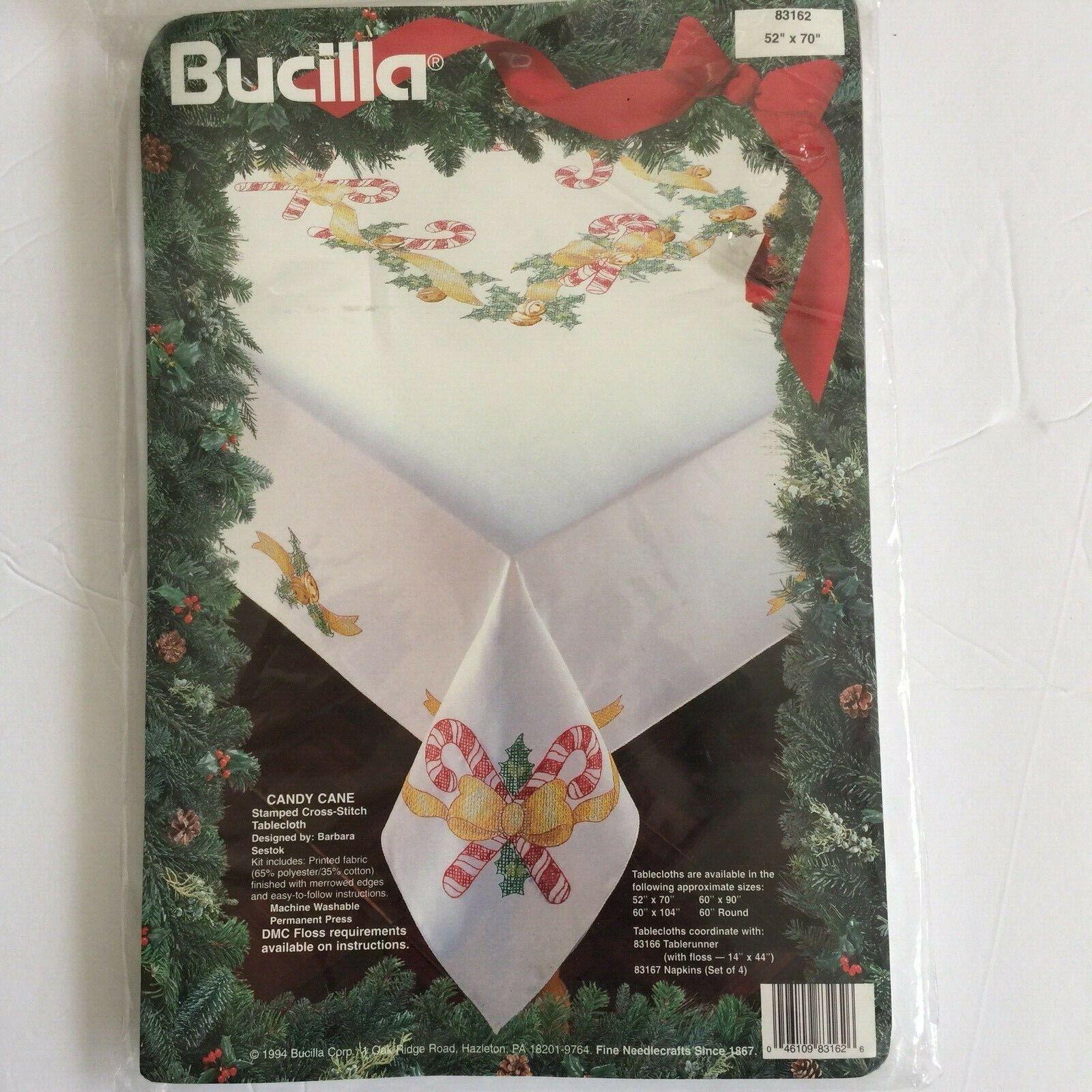 Bucilla Candy Cane Cross Stitch Tablecloth 52 x 70 83162 Chr