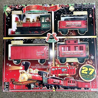EZTEC 27 Pc Battery Operated Santa Express Christmas Musical Train Set -Open Box