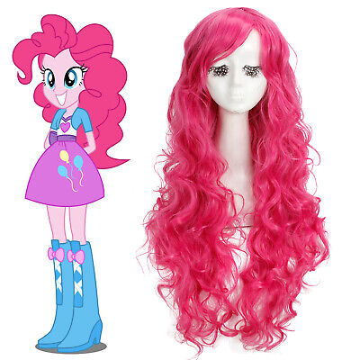 My Little Pony Pinkie Pie Hot Pink Long Curly Wavy Cosplay Wig Women Fashion Wig - Hot Pink Curly Wig