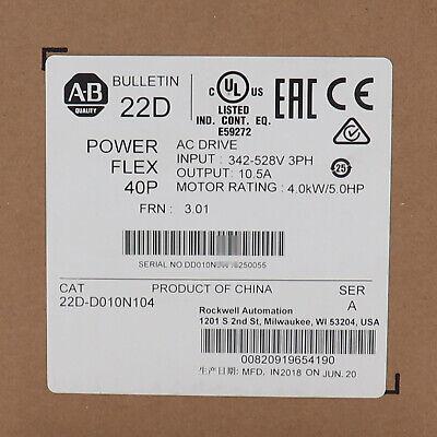 Us Stock New Allen-bradley 22d-d010n104 Powerflex 40p 4.0kw5.0hp Factory Sealed
