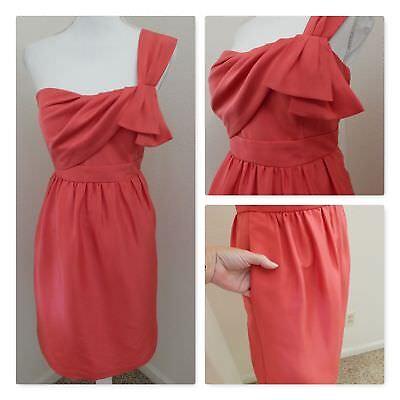 Jenny Yoo Collection DRESS~BRIDAL WEDDING PROM Coral Pink Silk One-Shoulder Sz 8