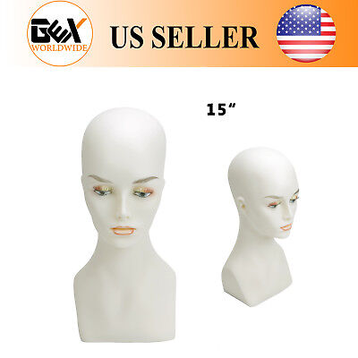 Gex Female Mannequin Display Head Bust Shoulder Realistic Pvc 15 Wig