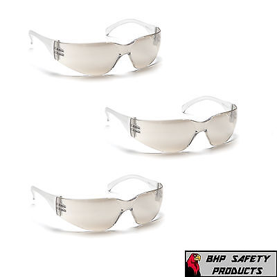PYRAMEX INTRUDER SAFETY GLASSES INDOOR/OUTDOOR MIRROR I/O LENS S4180S (3 PAIR) ()