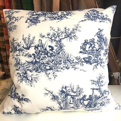 - Handmade 100% Cotton Cushion Cover BLUE TOILE DE JOUY. Various sizes