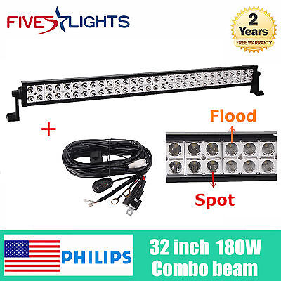 32'' 180W LED Philips Light Bar Flood Spot Beam Driving Truck Boat YJ+Wiring Kit