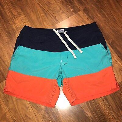 09e2a147aa Mens 33 J.CREW Striped SHORTBOARD Nylon colorblock Swim suit trunks Board  shorts