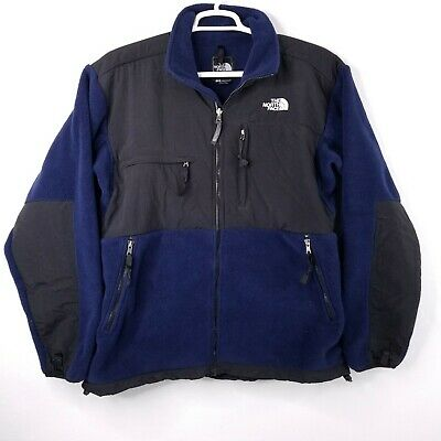 The North Face Denali Blue Black Full Zip Vented Pit Fleece Jacket L Large