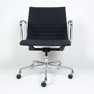 Eames Herman Miller Aluminum Group Executive Desk Chairs Black Fabric 16 Avail for sale  Hershey