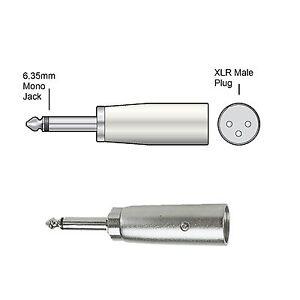 Audio Adaptor Jack XLR RCA Phono Plug Socket Stereo Mono 2.5mm 3.5mm 6.35mm Twin