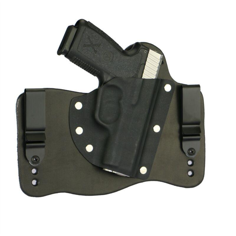 FoxX Leather & Kydex IWB Hybrid Holster Kahr CM9, CW9, P9 & PM9 Right Draw Black
