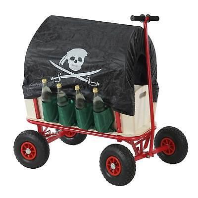 Bollerwagen mit Flaschenhalter, Handwagen mit Bremse Sitz Dach Pirat schwarz