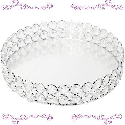 Round Crystal Cosmetic Vanity Tray Mirrored Decorative Jewelry Perfume Display