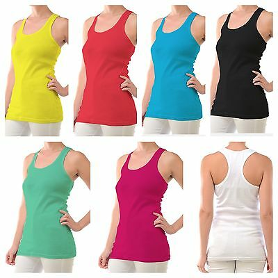 (Women's 100% cotton racer back ribbed tank top hot tee cami gym yoga sports new)