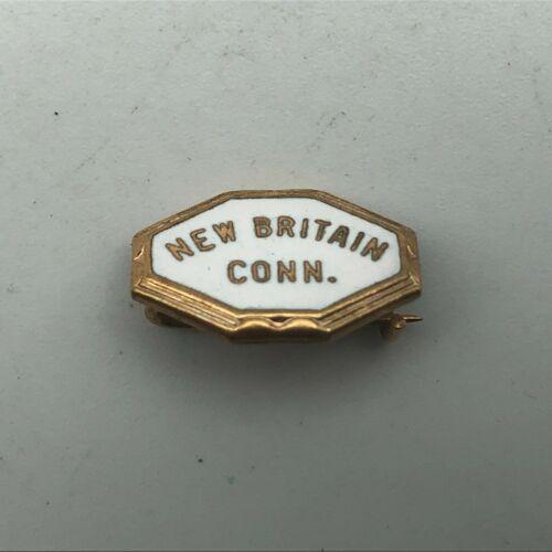 Vintage New Britain Connecticut Gold Tone White Enamel Small Lapel Hat Pin  A6