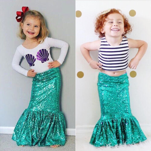 2Pcs Toddler Kids Girl Mermaid T Shirt Top Long Dress Skirt