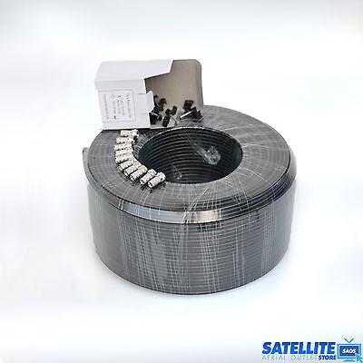 100M Black TWIN / SHOTGUN COAX CABLE  FOR SKY +, SKY HD, FREESAT + 10 Fs & Clips