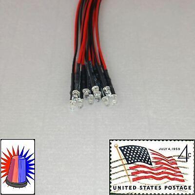 10x 3mm Red Blue Flashing Blinking Leds Pre Wired 18v-24v Police Light Usa