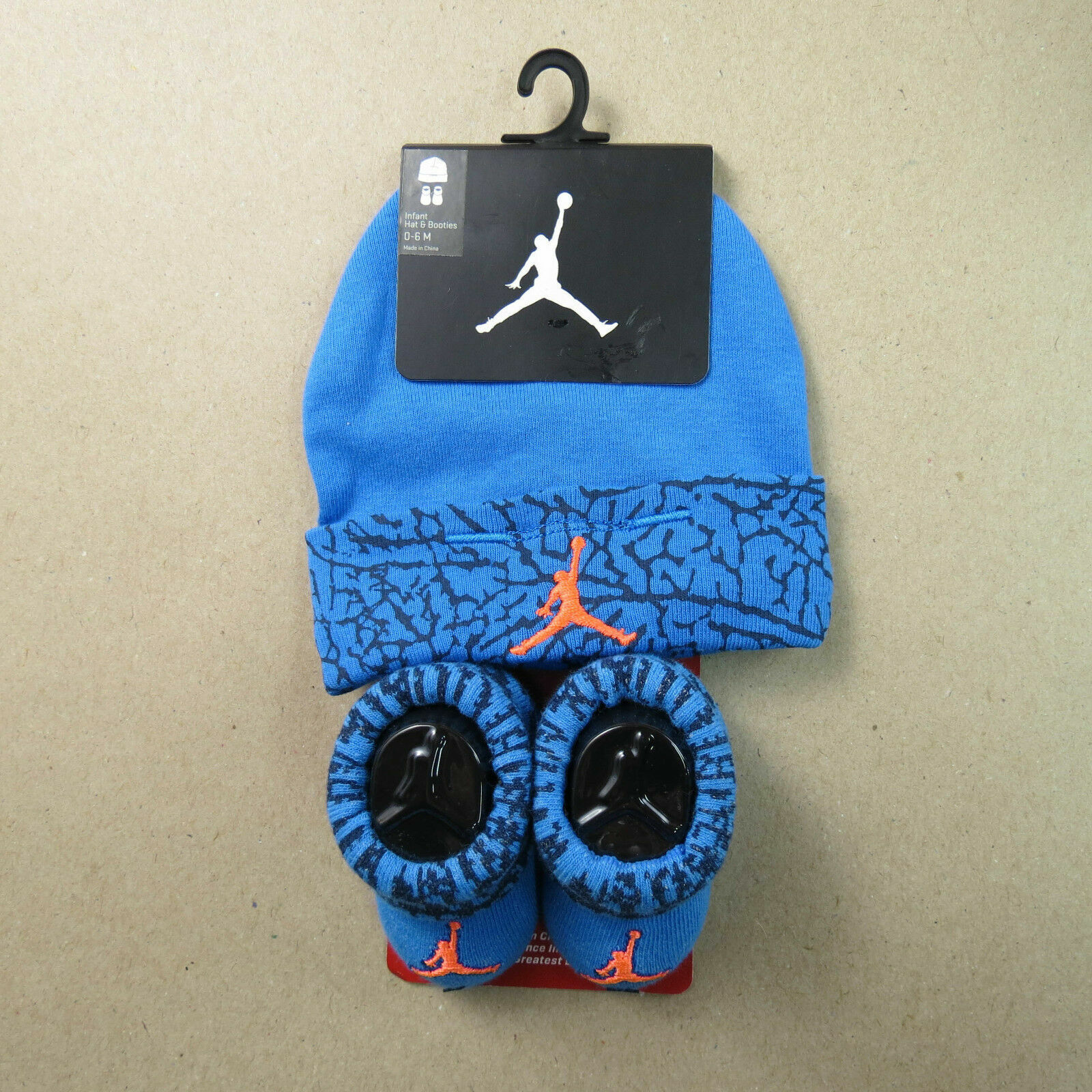 Nike Jumpman Kleinkinder Baby Mütze und Booties 0 bis 6 Monate Blau mit Orange