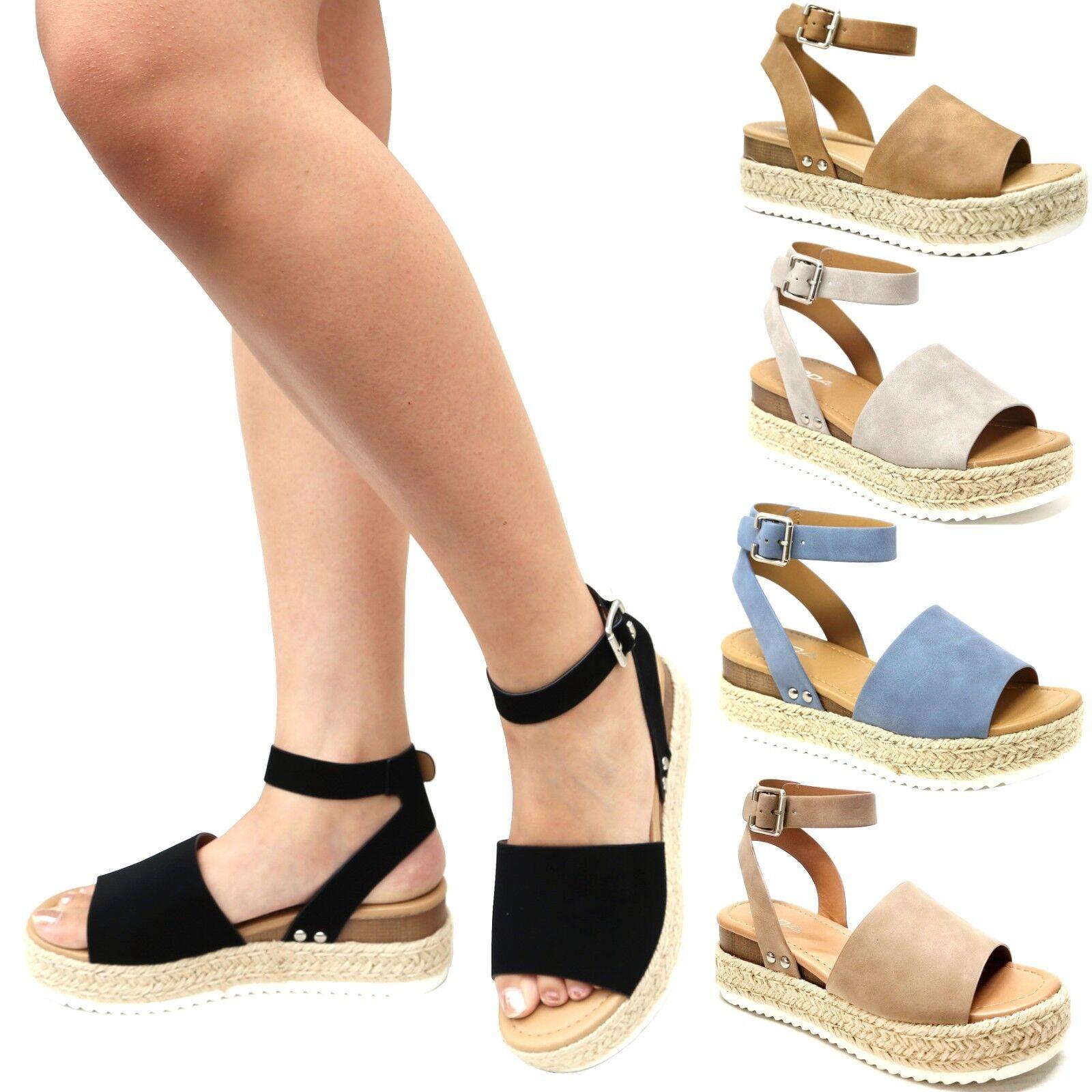 New Women Platform Flatform Espadrille Wedge Sandals Open To
