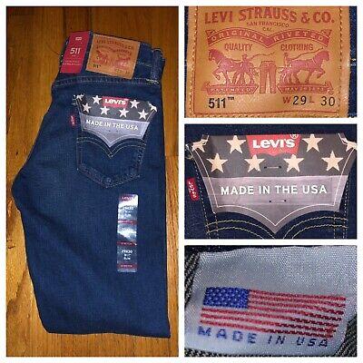 NWT Levi's 511 Dark Blue Slim Fit White Cone Oak Denim Jeans Size 29 X 30 USA