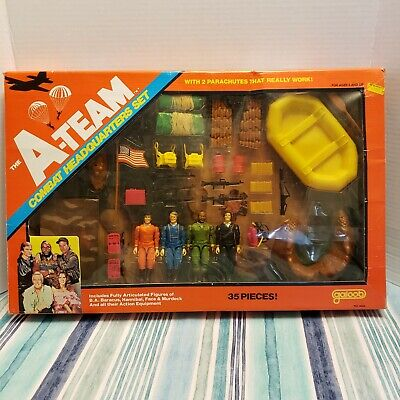 "1983 Galoob The A-Team Combat Headquarters Set 3.75"" Figures Vintage"
