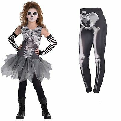 arz & Knochen Skelett Tutu Kleid Leggings Halloween Kostüm (Skelett Tutu Kleid)