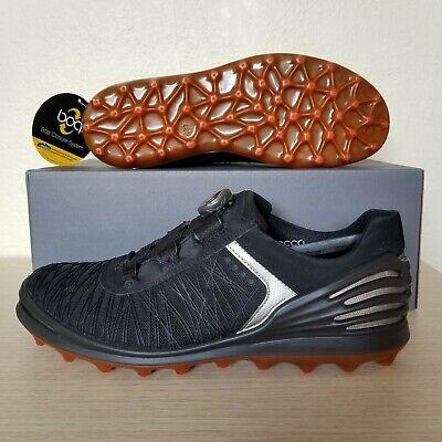 ECCO Golf Cage Pro BOA Spikeless Black Orange Laceless Golf Shoes (133014 00001) - Orange Boas