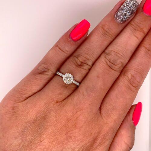 1.01 Carat Round Brilliant Cut J - SI2 GIA Diamond Halo Engagement Ring 18k Gold 4