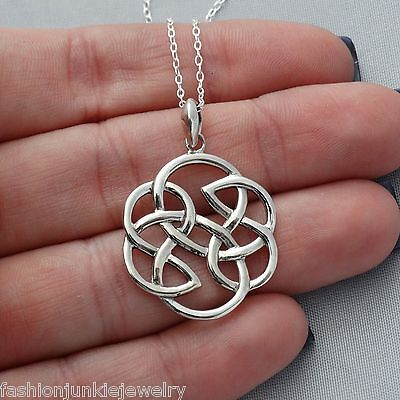 Celtic Knot Pendant Necklace - 925 Sterling Silver - Infinity Irish Love Trinity