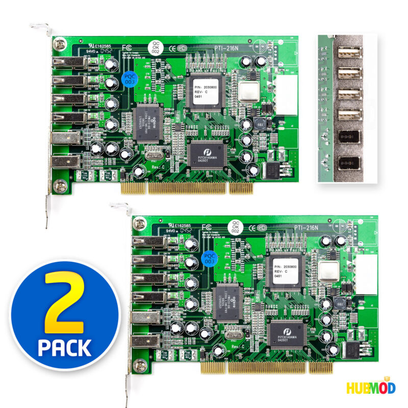 2 X Adaptec PCI Port Expansion Adapter Card 4 USB 2.0 FireWire 400 IEEE 1394 NEW