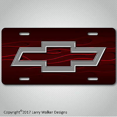 Chevy Chrome look Bowtie Bow Tie on Ghost Flames  Aluminum License Plate Tag New