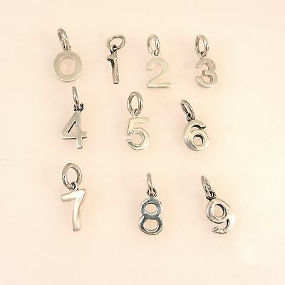.925 Sterling Silver SMALL Number 1 2 3 4 5 6 7 8 9 0 CHARM Pendant NEW # 925