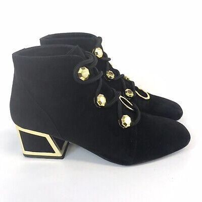 Kat Maconie 38 UK5 Roselie Black Leather Ankle Lace Up Sexy Heeled Booties Boots