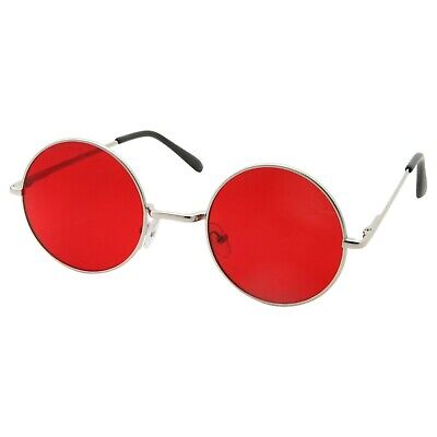 60's 70's Glasses Red Tint Lens Sunglasses Round Classic Silver Circle Frame
