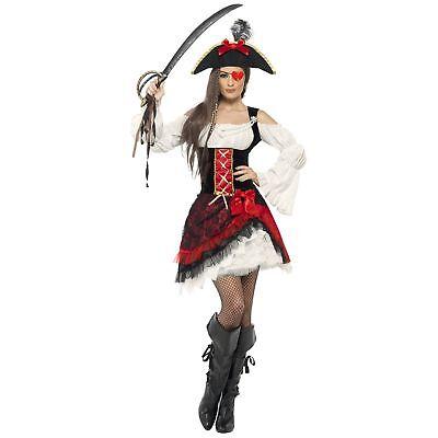 Lady Pirate Fancy Dress (Glamorous Lady Pirate Captain Caribbean Womens Ladies Fancy Dress)
