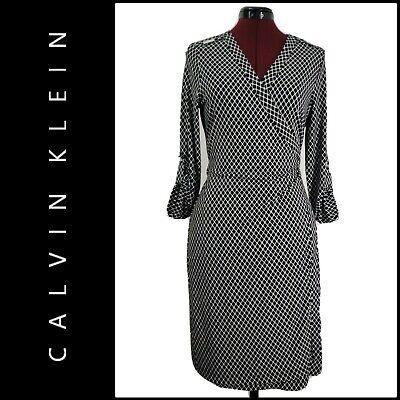 Calvin Klein Women Career Formal Wrap Dress Size 10 Black