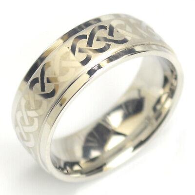 Knot Ring (Celtic Tribal unendlicher Knoten Ring Farbe silber 8 mm breit er012)