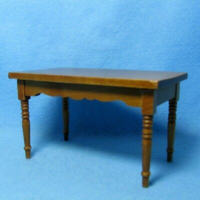 Dollhouse Miniature Walnut Wood Rectangle Dining Room Kitchen Table